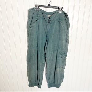 Free People Teal Washed Soft Cargo Joggers Medium